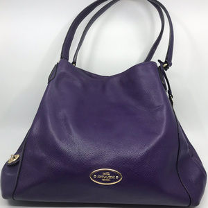 COACH Purple Leather Edie Shoulder Bag